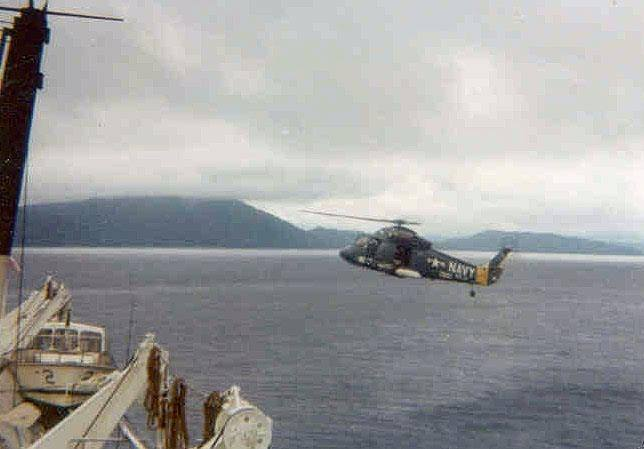 Helicopter survival story returning to the ship