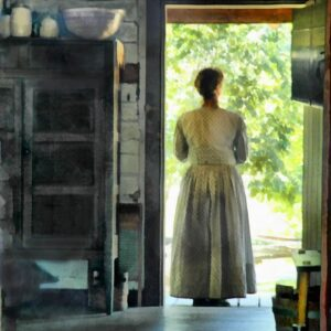 Woman at the Cabin Door - Painted Image